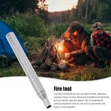 Soufflets de feu pliables, Tube télescopique en acier inoxydable, pour Camping et voyage, 2 pièces/ensemble