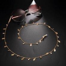 Teamer 2020 nouvelle mode lunettes chaînes feuille breloque lunettes de soleil chaîne pour femmes cristal perlé longes cou support sangles