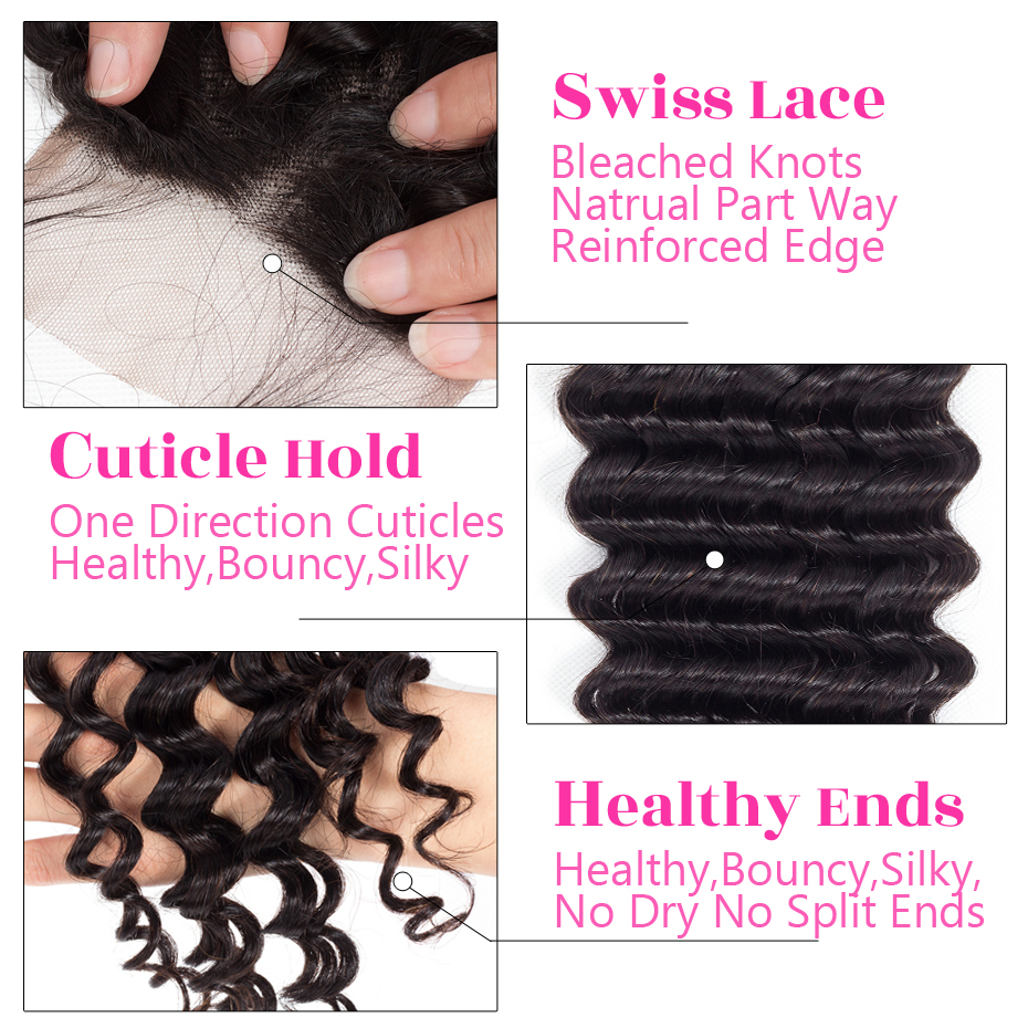 H26773f0519d04e348deef11d8417402cZ Deep Wave Bundles With Lace Closure 4x4 Brazilian Hair Weave Bundle With Closure Remy Human Hair Free Middle Three Part Jarin