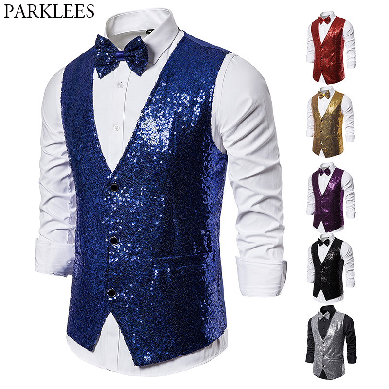 Shiny Royal Blue Sequin Dress Vests Men Slim Fit V Neck Glitter Tuxedo Waistcoat Mens Wedding Party Stage Prom Vest With Bowtie