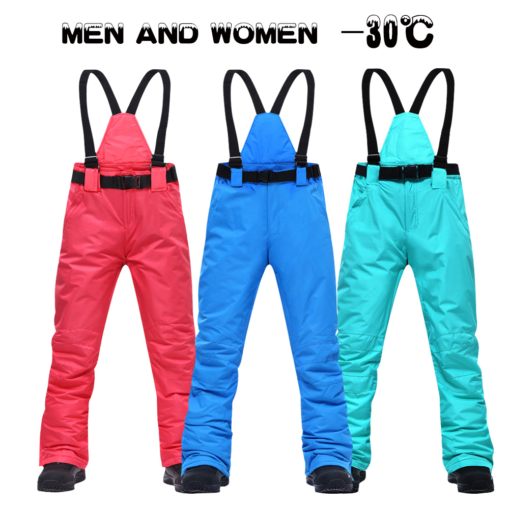 Mulheres calças de esqui marcas novos esportes ao ar livre de alta qualidade suspensórios calças dos homens à prova vento impermeável quente inverno neve snowboard