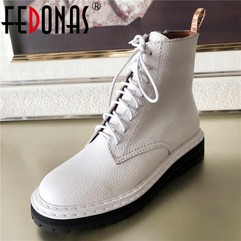 FEDONAS Euro Style Brand Women Quality Genuine Leather Ankle Boots Big Size Female Motorcycle Boots High Heels Party Shoes Woman
