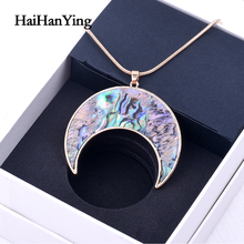 New Zealand Abalone Shell Pendant Mop Shell Alloy Crescent Pendant Natural Gem Necklace 2020 Fashion Accessories Party Gift fashion anchor style zinc alloy shell pendant necklace silver blue
