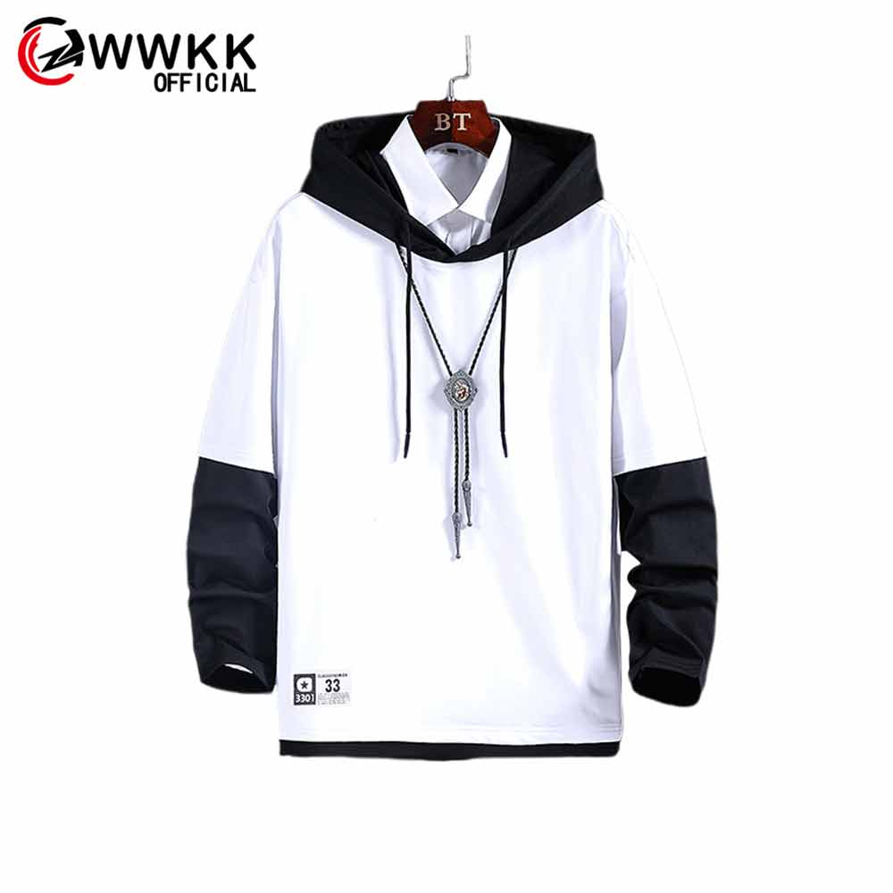 WWKK Men's New Autumn Fashion Printing Loose Long Traditional Solid Color Contrast Color Hooded Male Breathable Sweatshirt Tops