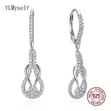 Real 92.5% silver long earrings latest jewelry jewellery real sterling silver drop earring anniversary gifts for women