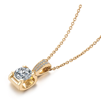 Classic 18K Yellow Gold long Pendant with 1carat round moissanite stone Gold Chain long Necklace Gift For Women in Fine Jewelry 2