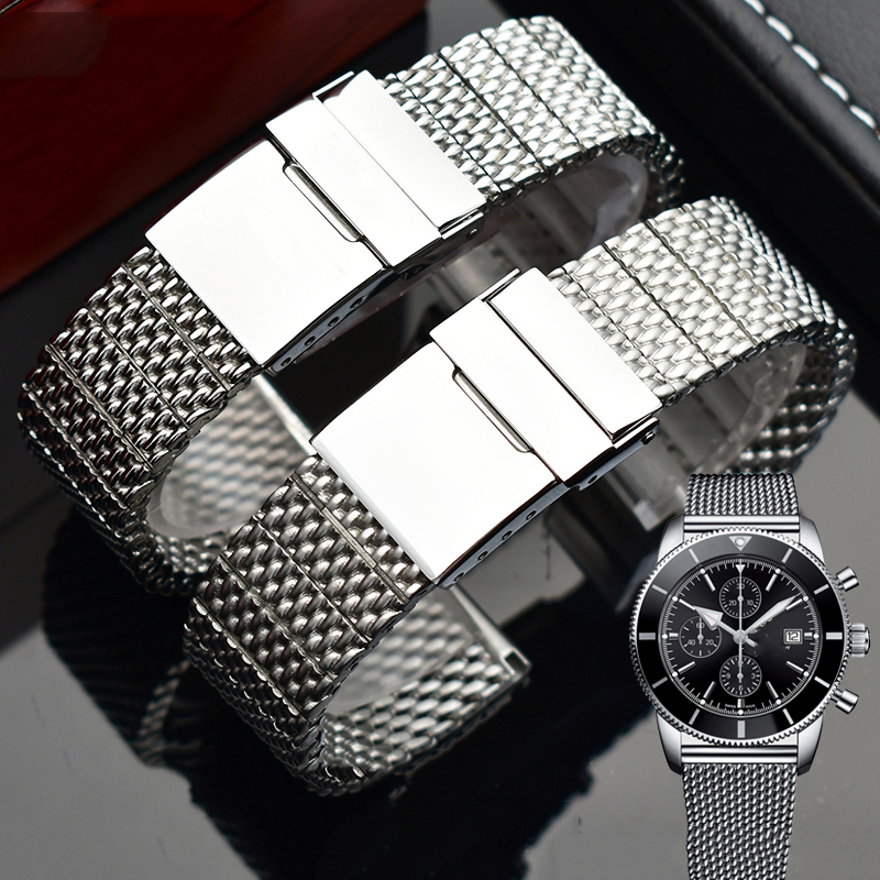 316L Stainless Steel Watchband For Men's Breitling Wristband Straps With Folding Buckle 22mm 24mm Silver Black