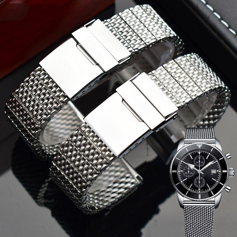 Bracelet de montre en acier inoxydable 316L pour hommes Breitling bracelets avec boucle pliante 22mm 24mm argent noir