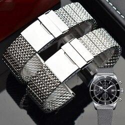 Correa de reloj de acero inoxidable 316L para hombre correas de pulsera Breitling con hebilla plegable 22mm 24mm plata negro