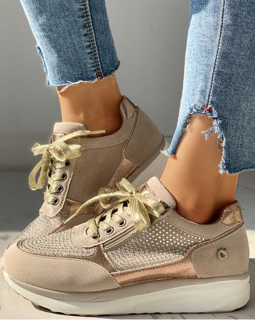 Shoes Woman Sneakers Gold Zipper Platform Trainers Women Shoes Casual Lace-Up Tenis Feminino Zapatos De Mujer Women Sneakers