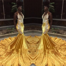 Sexy Backless Yellow Mermaid Lace Evening Dress 2019 Vestido De Festa Halter Neck Prom Gowns With Long Train Robe Soiree