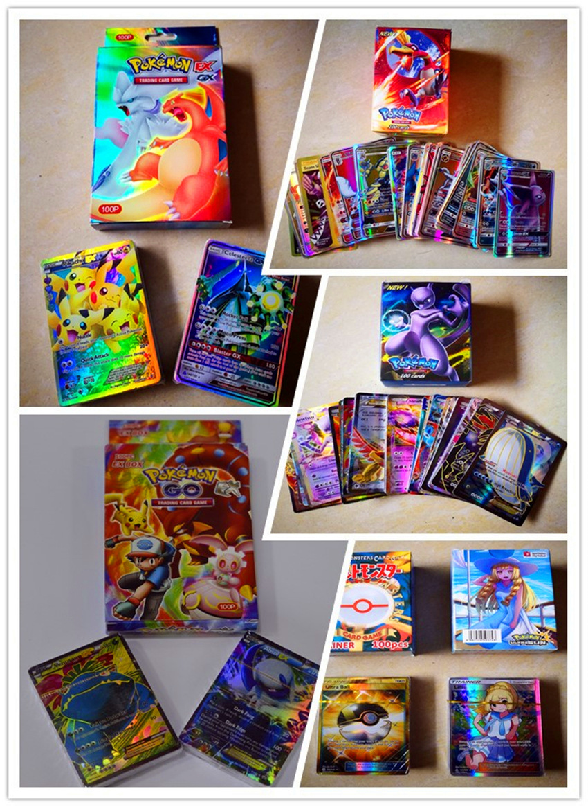 100 Stks /set  TAKARA TOMY Pokemon Card Game Cards EX MEGA GX  Package Cards Toys For Children Hobby Collectibles Game