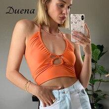 Женский топ на шнуровке без бретелек Duena, оранжевый уличный клубный Топ без рукавов с открытыми плечами, лето 2021