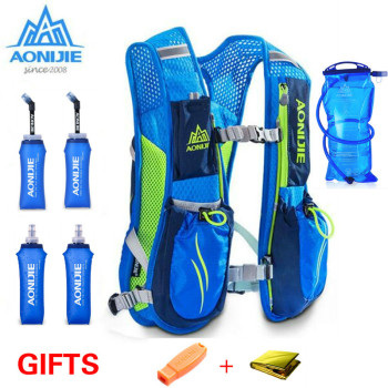 AONIJIE 5.5L Running Marathon Hydration Nylon Women Men Backpack Outdoor Running Bags Hiking Backpack Vest Marathon Cycling Bag недорого