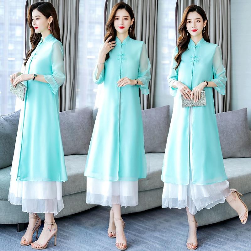 Solid Color 2019 Summer Crew Neck Fashion Comfortable Elegant Three-quarter-length Sleeve Simple Versatile Set