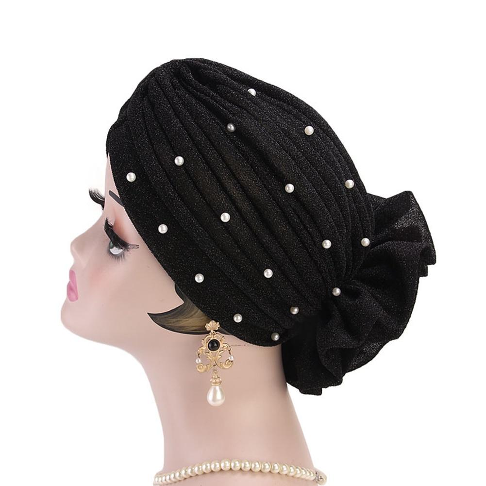 Moda falso pérola decoração flor grande mulher muçulmano hijab turbante chapéu cabeça envoltório boné