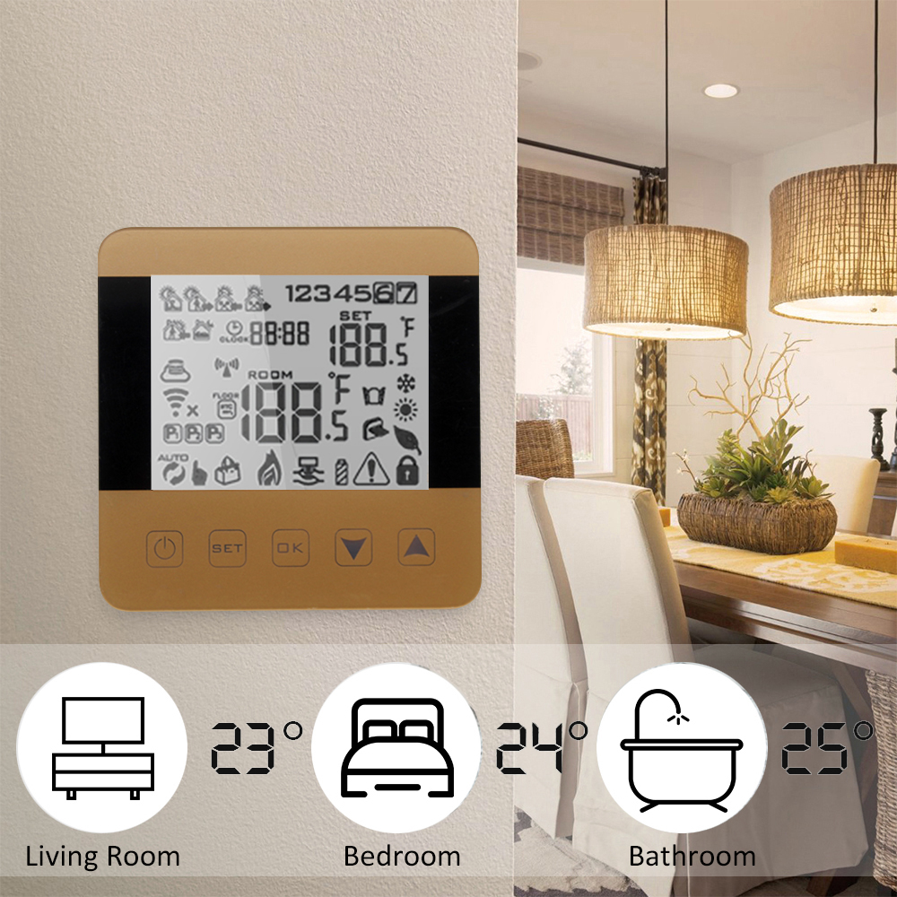 Wifi Touch Thermostat Water/Gas Boiler Heating Floor Temperature Controller LCD Display Touch Screen Thermostat Memory Function