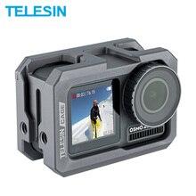 Carcasa de marco de aleación de aluminio TELESIN para DJI Osmo Action con zapata Clod, accesorios antigolpes para cámara
