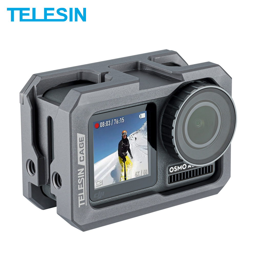 TELESIN Aluminium Alloy Frame Case Cage For DJI Osmo Action With Clod Shoe Anti-shock Camera Accessories