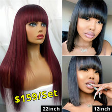 "West Kiss Hair 99j Wig 22"" Machine Made Brazilian Straight Human Hair Wig With Bangs Short Bob Wig 12"" Remy Wigs For Black Women(China)"