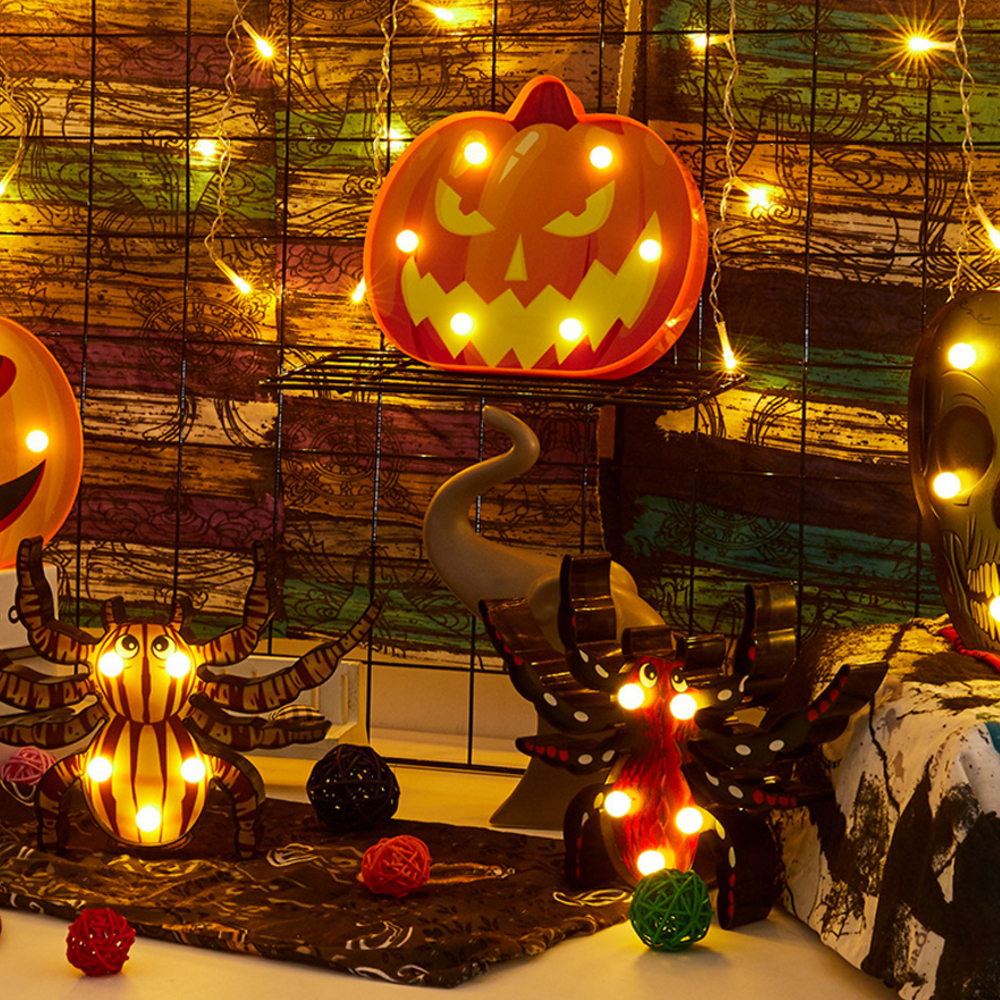 Hand Painted LED Light Pumpkin Ghost Spooky Scary Battery Powered Holiday Party Decorative Desk Lamp Halloween Hanging Ornament