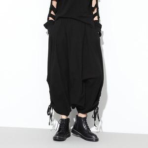 Image 2 - [Eam] 2020春秋の新ファッションブラックソリッドポケット弾性ウエストカジュアルルーズビッグサイズレディースロングクロスパンツRA231