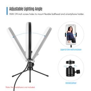 Image 5 - 8 inç LED halka ışık dolgu lamba dahili 72 adet LED boncuk 10W kısılabilir 2700 5500K renk sıcaklığı iPhone Samsung Huawei için
