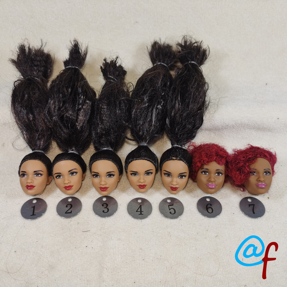 B2-1 Original Foreign Trade Western Asia Beauty 1/6 OOAK NUDE Rarely Doll Head Mussed Black Hair For DIY Soft PVC Head