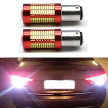 1x S25 1157 P21/5W BAY15D 1156 BA15S P21W LED araba ışıkları Styling 4014 106 SMD işık dönüş sinyali lambası kuyruk ampul 12V beyaz