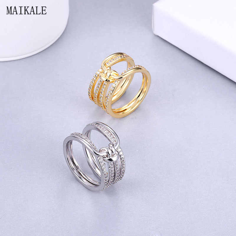 MAIKALE Luxury Cubic Zirconia Rings for Women Gold Silver Zircon CZ Multilayer Circle Ring Set Wedding Band Fashion Jewelry