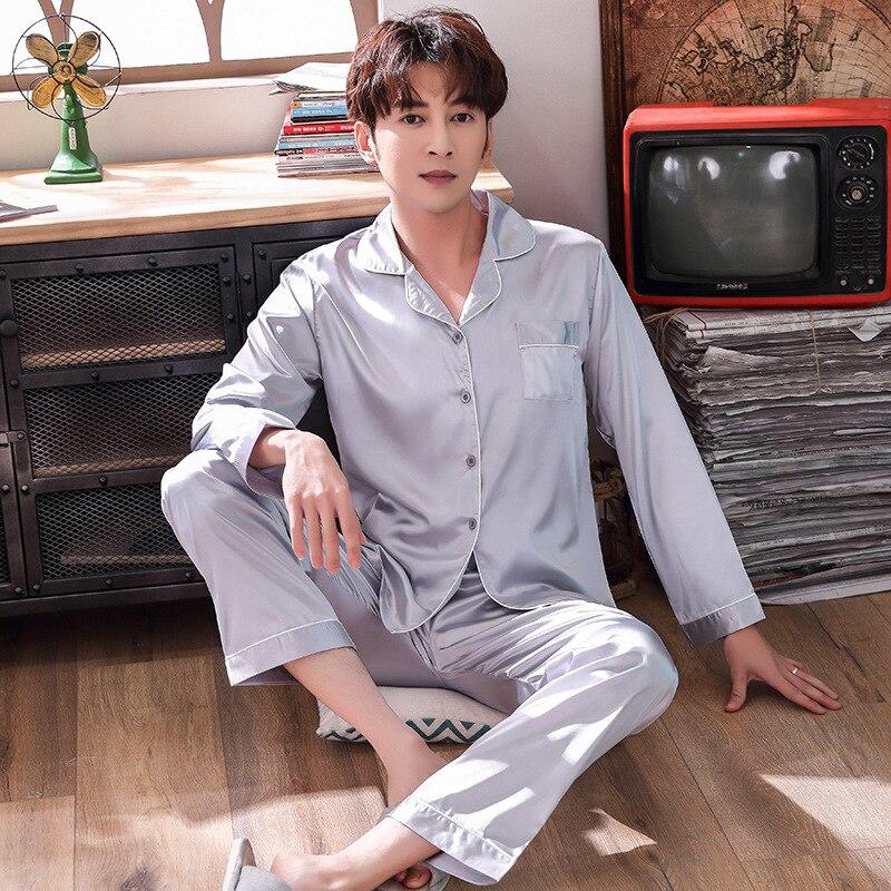 Летний Новый шелковистые пижамы мужской 2шт пижамы костюм ночная рубашка атласная и брюки домашняя одежда пижамы мягкий уютный халат белье