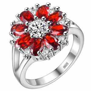Image 2 - Cellacity חינני פרח בצורת כסף 925 תכשיטי אבני חן טבעת לנשים רובי אמטיסט אבקת קריסטל חרצית היכרויות
