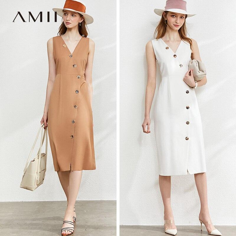 Amii Spring Summer Solid Slim Vneck Sleeveless Dress Women Causal Botton Knee-length Dress 12040157