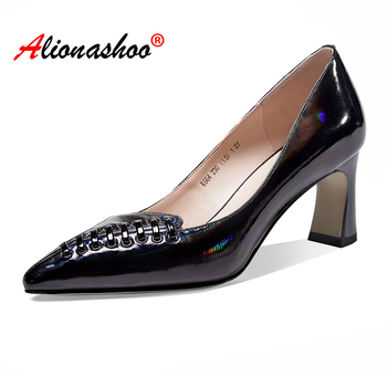 2020 Spring shoes women genuine leather strange style high heel pump shoes black nude pointed toe sweet women office shoes 34-39