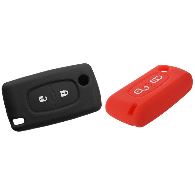 2x 2 Button Remote Key Case Holder Protect Cover for <font><b>Peugeot</b></font> 206 207 <font><b>307</b></font> 308 Silicone Black & <font><b>Red</b></font> image