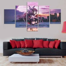 цена Canvas Painting HD Prints Frame Home Decoration 5 Pieces Anime Modular Yatogami Tohka Date A Live Pictures Artwork Poster