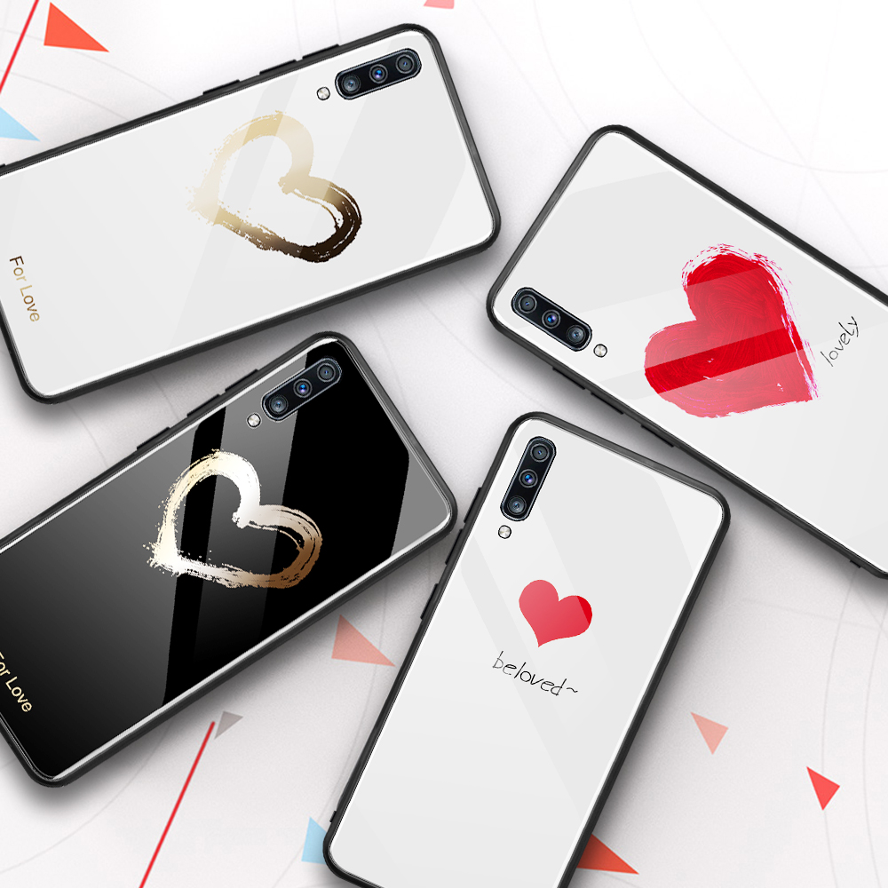 For <font><b>Samsung</b></font> <font><b>A50</b></font> 2019 Cover Couple Love Heart Printed Tempered <font><b>Glass</b></font> <font><b>Case</b></font> For <font><b>Samsung</b></font> Galaxy A10 A20 A30 <font><b>A50</b></font> A70 Note 10 Plus Pro image