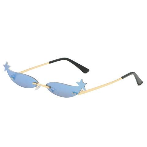 Star Frame Women Sunglasses Oculos Fashion Sexy Small Rimless Mirror Lens Ladies Men Sunglasses Sun Glasses UV400 Shades Eyewear Karachi