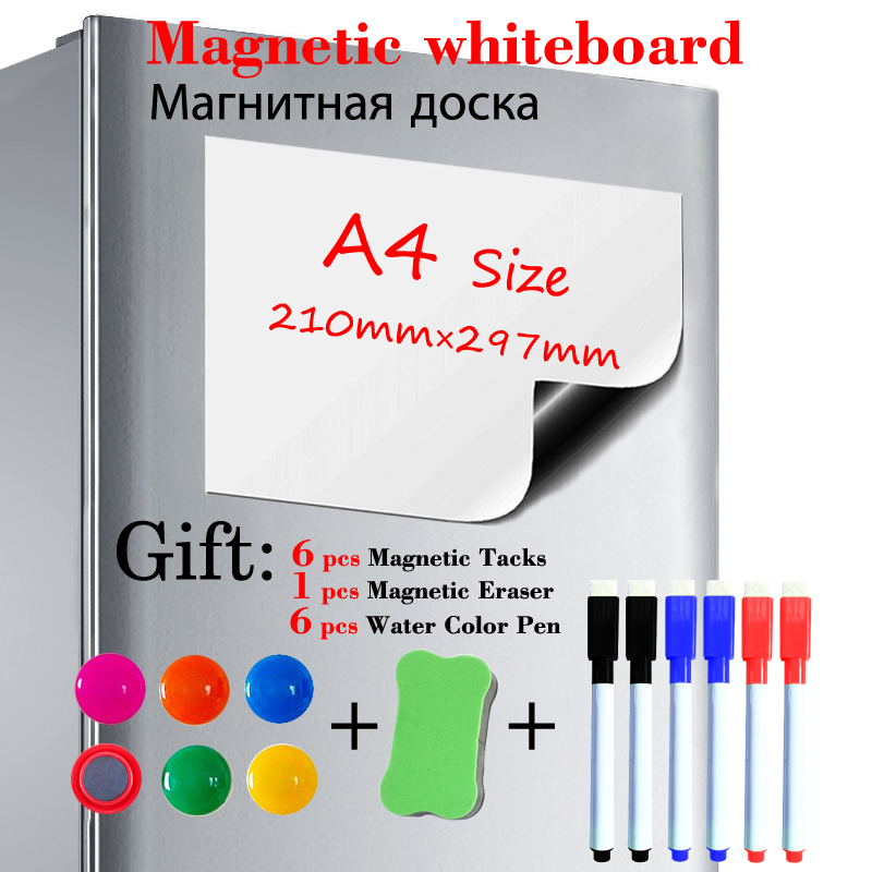 A4 Size Soft Magnetic Whiteboard Fridge Sticker Dry Erase Magnet White Board Kitchen Message Board Gift 6 Pen 1 Eraser 6 Tacks