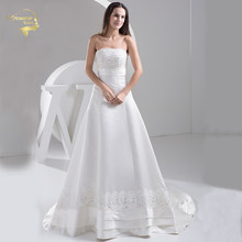 Jeanne Love 2016 New Applique Lace Wedding Dresses Robe De Mariage Satin Bridal Gowns Vestido Novia PLUS SIZE JLOV11045