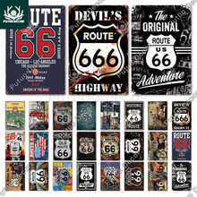 Putuo Decor Route 66 Vintage Metal Tin Sign Plaque Metal Vintage Retro Garage Wall Decor for Bar Pub Club Man Cave Gas Station