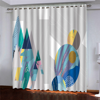 3d Curtains Blackout for Living Room Kids Bedroom Fabric Painted colorful abstract cartoon painting custom curtains