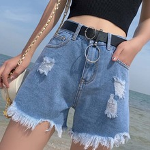 2020 New Summer Korean Denim Sexy Shorts Jeans High Waisted fur-lined leg-openings Booty Shorts Hole Rave Ripped Plus Size Short
