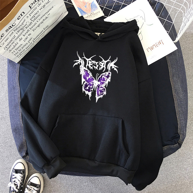 pink clothing black butterfly oversized Women's Hoodies Print Kawaii Sweatshirt Hoodies for Women top Hoody clothes Full Sleeve 1
