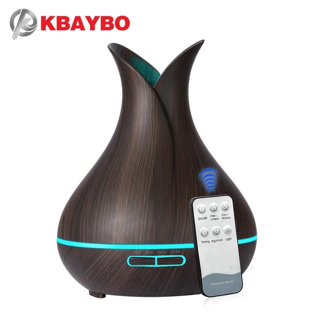 KBAYBO 400ml אולטרסאונד ארומה אוויר מכשיר אדים חיוני שמן מפזר עץ תבואה מטהר יצרנית ערפל LED אור עבור בית
