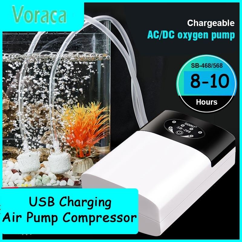 Мощность воздушный насос супер Бесшумная зарядка через USB Перезаряжаемые литий Батарея Мощность кислорода компрессор аквариума садок для ...