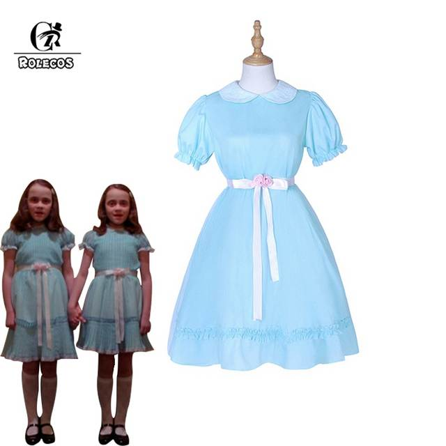 Us 28 05 45 Off Rolecos Costume The Shining Twins Cosplay Blue Chiffon Dress For Women Horror Movie Sweet On
