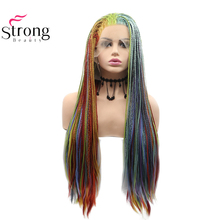 Braids Wigs Lace-Front Long Synthetic Ombre Women Strongbeauty for Strongbeauty-Box