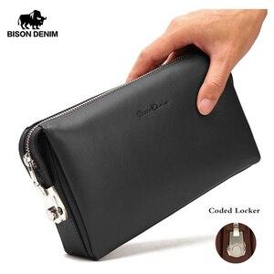 Image 1 - Мужской клатч из натуральной кожи BISON DENIM, черный бумажник на молнии, Длинный кошелек для телефона, 2019