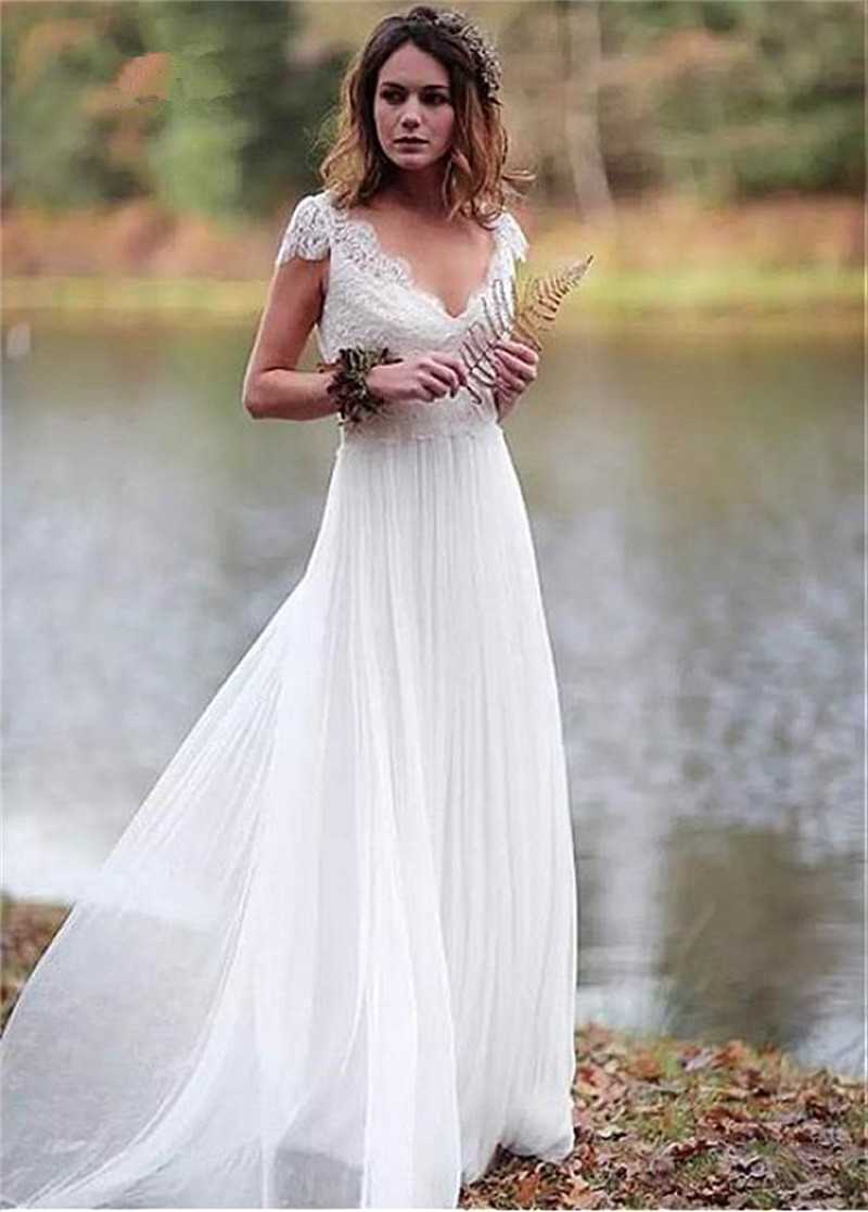 Backless Vestido De Noiva 2020 Wedding Dresses Cap Sleeves Chiffon Lace Beach Boho Dubai Arabic Wedding Gown Bridal Dress